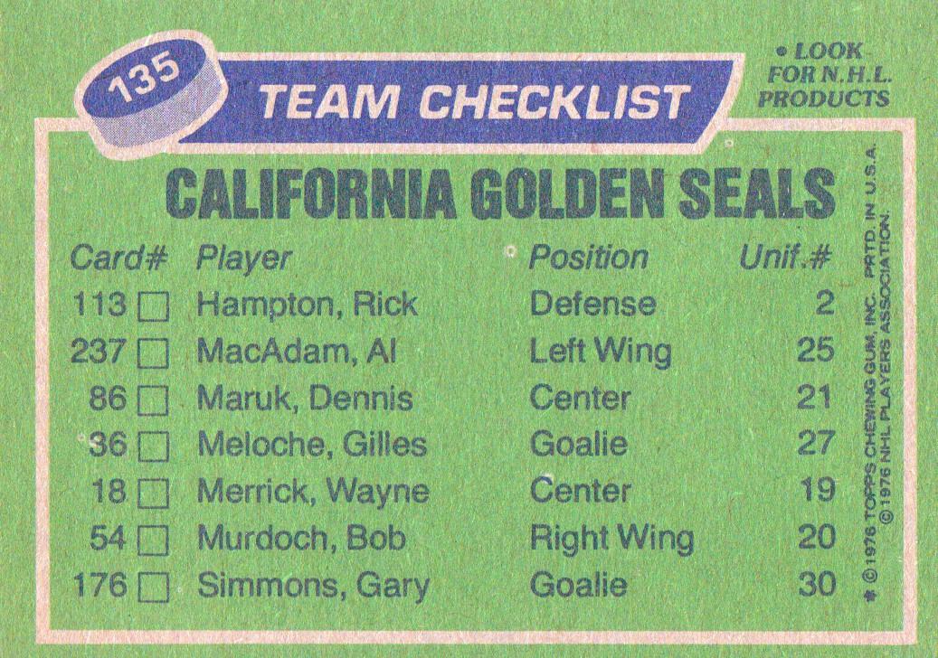 1976-77 Topps #135 Seals Team CL back image