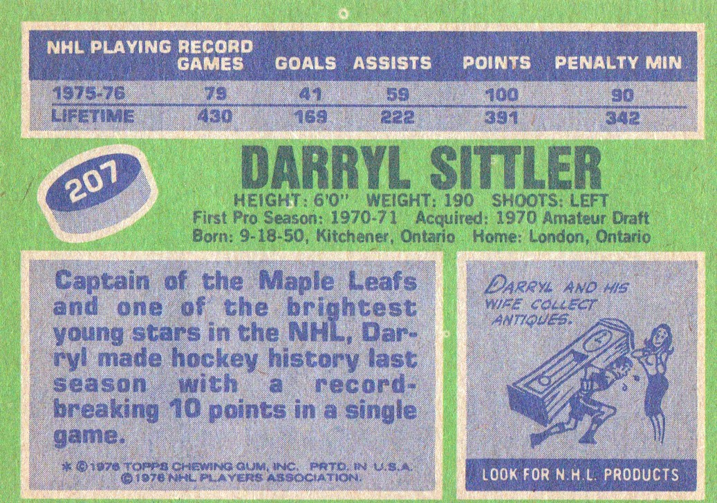1976-77 Topps #207 Darryl Sittler back image
