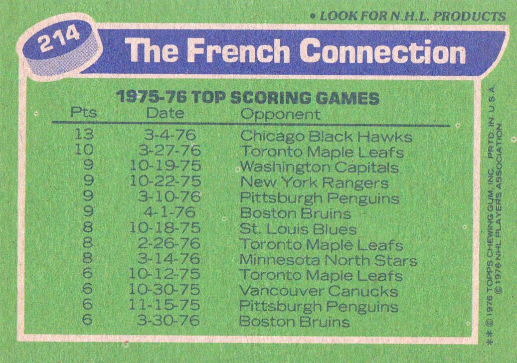 1976-77 Topps #214 French Connection/Richard Martin/Gilbert Perreault/Rene Robert back image