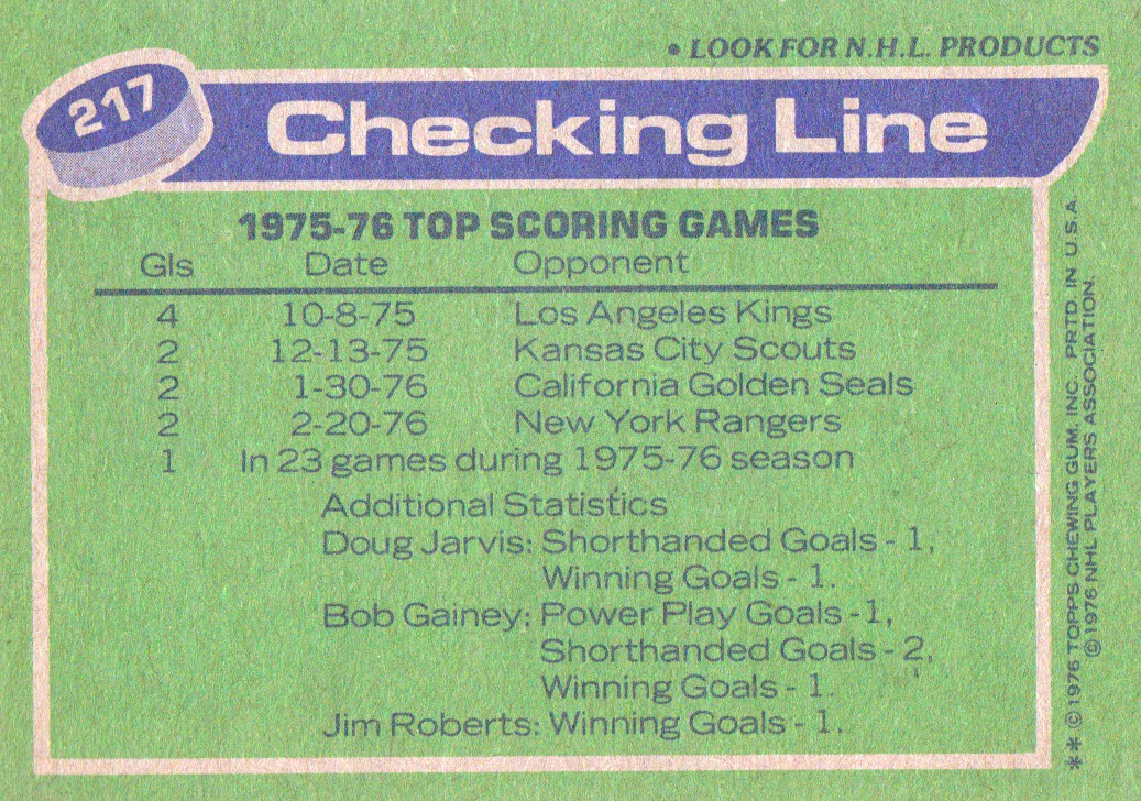 1976-77 Topps #217 Checking Line/Bob Gainey/Doug Jarvis/Jim Roberts back image