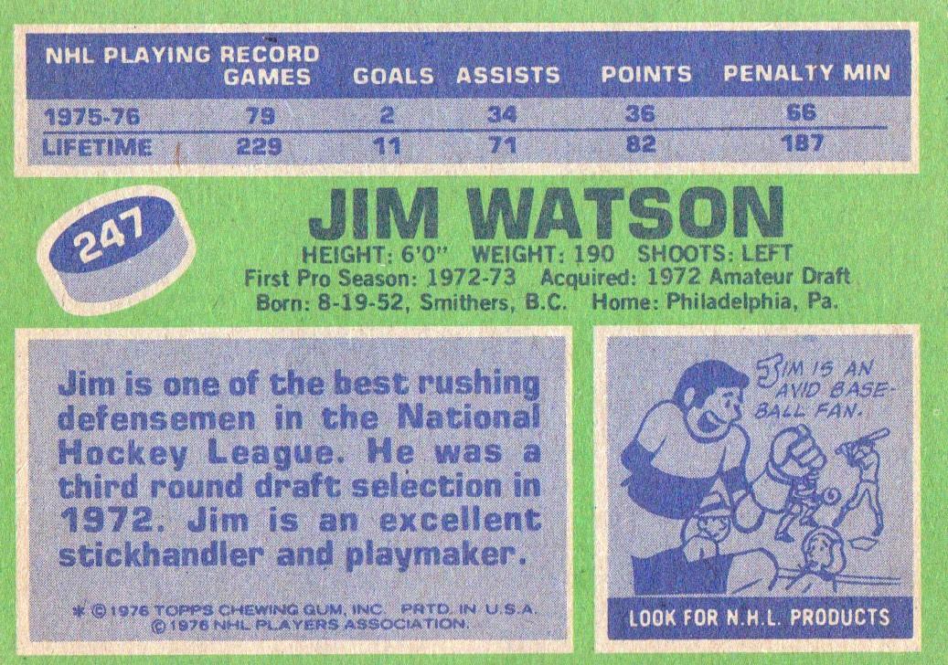 1976-77 Topps #247 Jimmy Watson back image