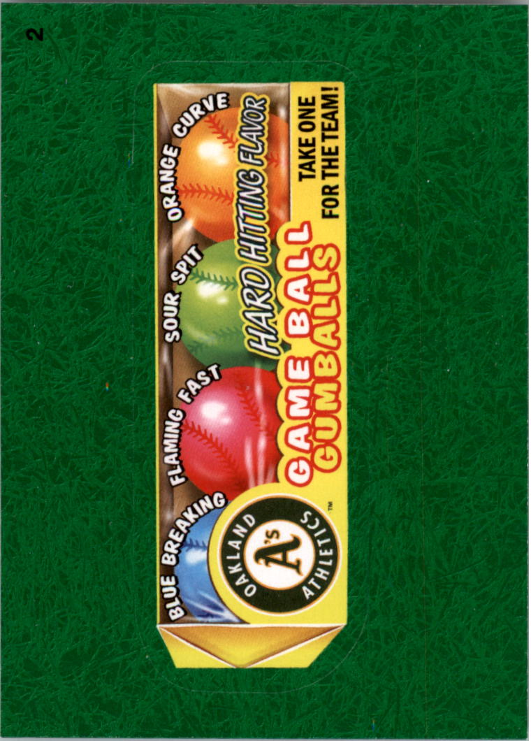 2016 Wacky Packages MLB Grass #2 Athletics Game Ball Gumballs