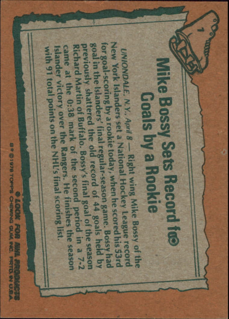 1978-79 Topps #1 Mike Bossy HL back image