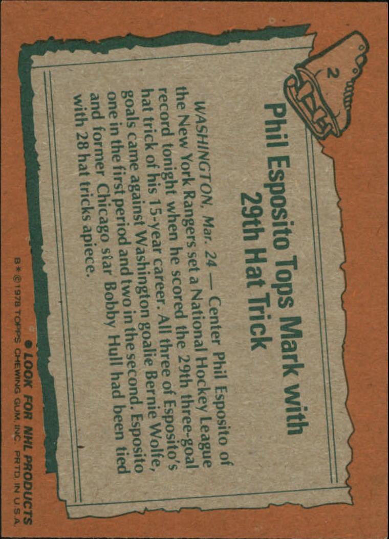 1978-79 Topps #2 Phil Esposito HL back image