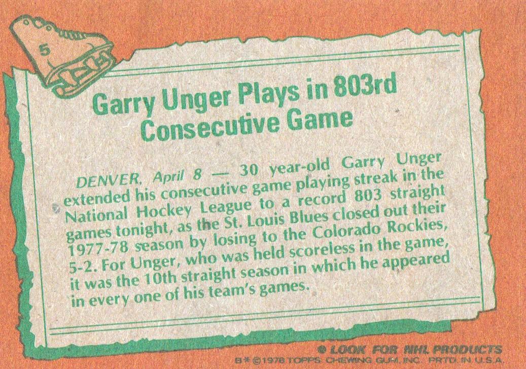 1978-79 Topps #5 Garry Unger HL back image
