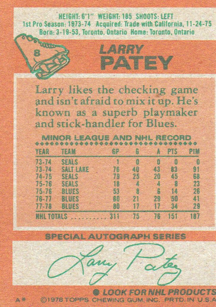1978-79 Topps #8 Larry Patey back image