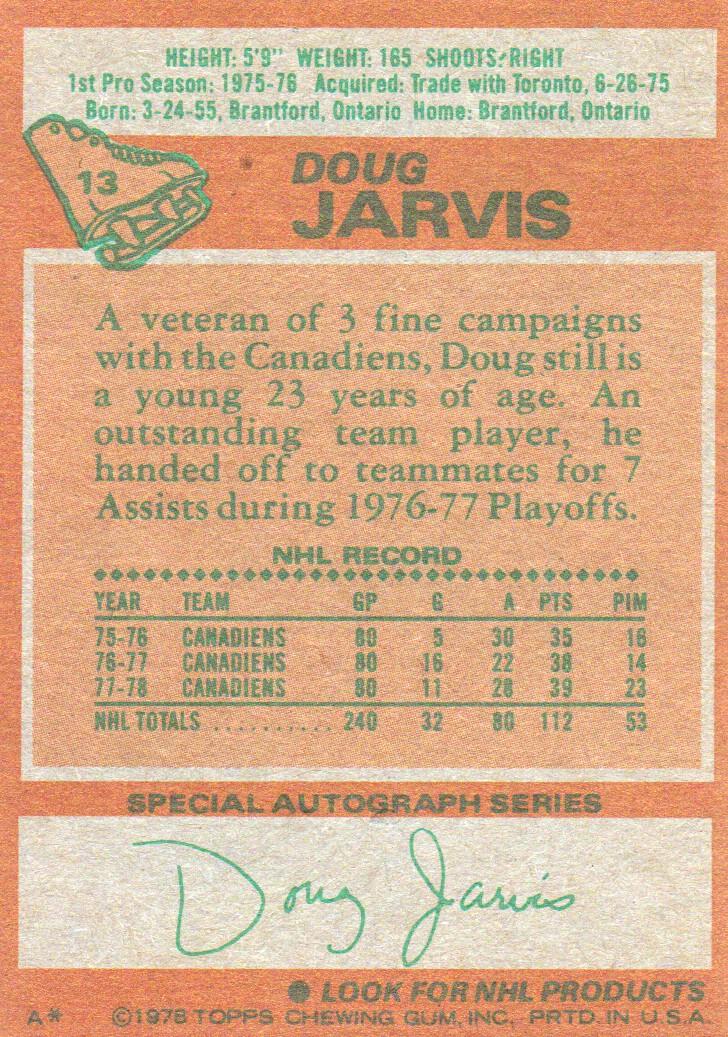 1978-79 Topps #13 Doug Jarvis back image