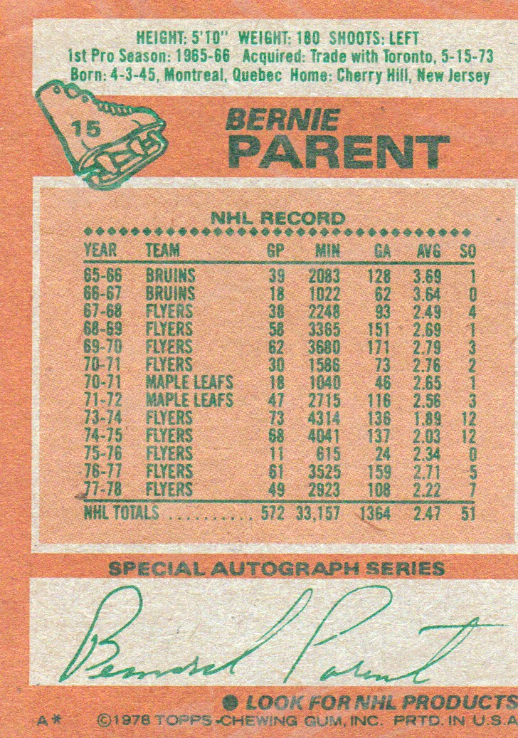 1978-79 Topps #15 Bernie Parent back image