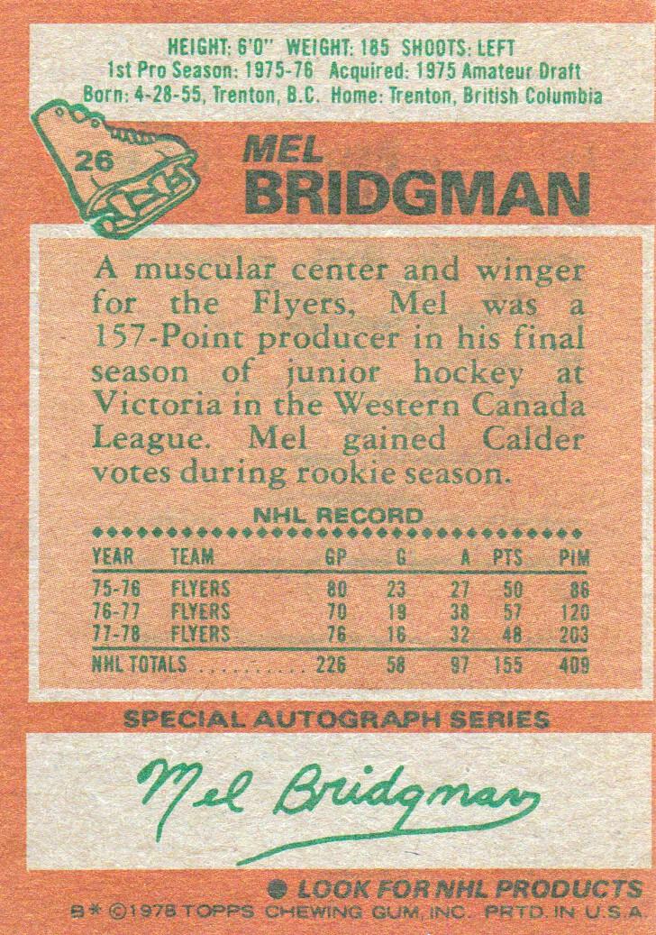 1978-79 Topps #26 Mel Bridgman back image