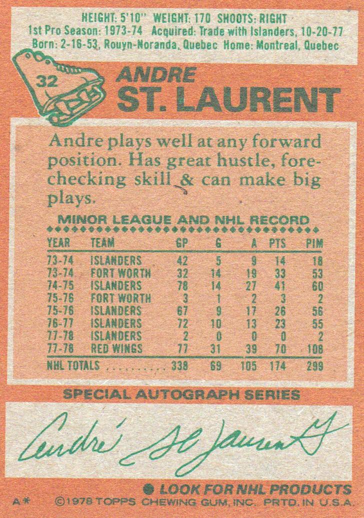 1978-79 Topps #32 Andre St.Laurent back image