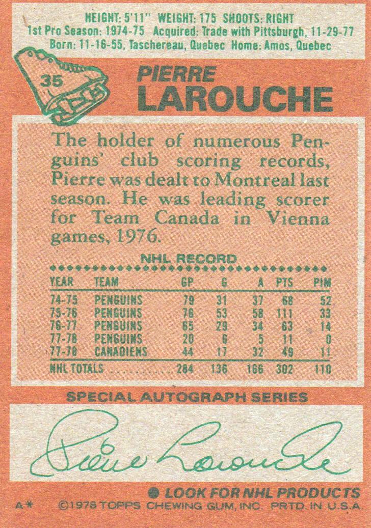 1978-79 Topps #35 Pierre Larouche back image