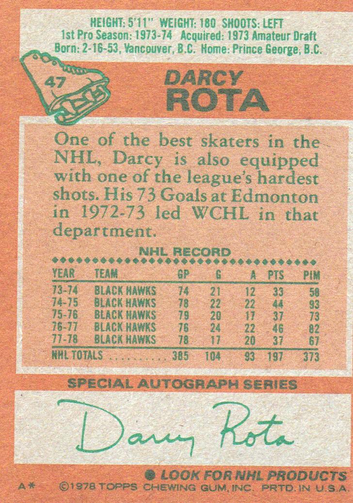 1978-79 Topps #47 Darcy Rota back image