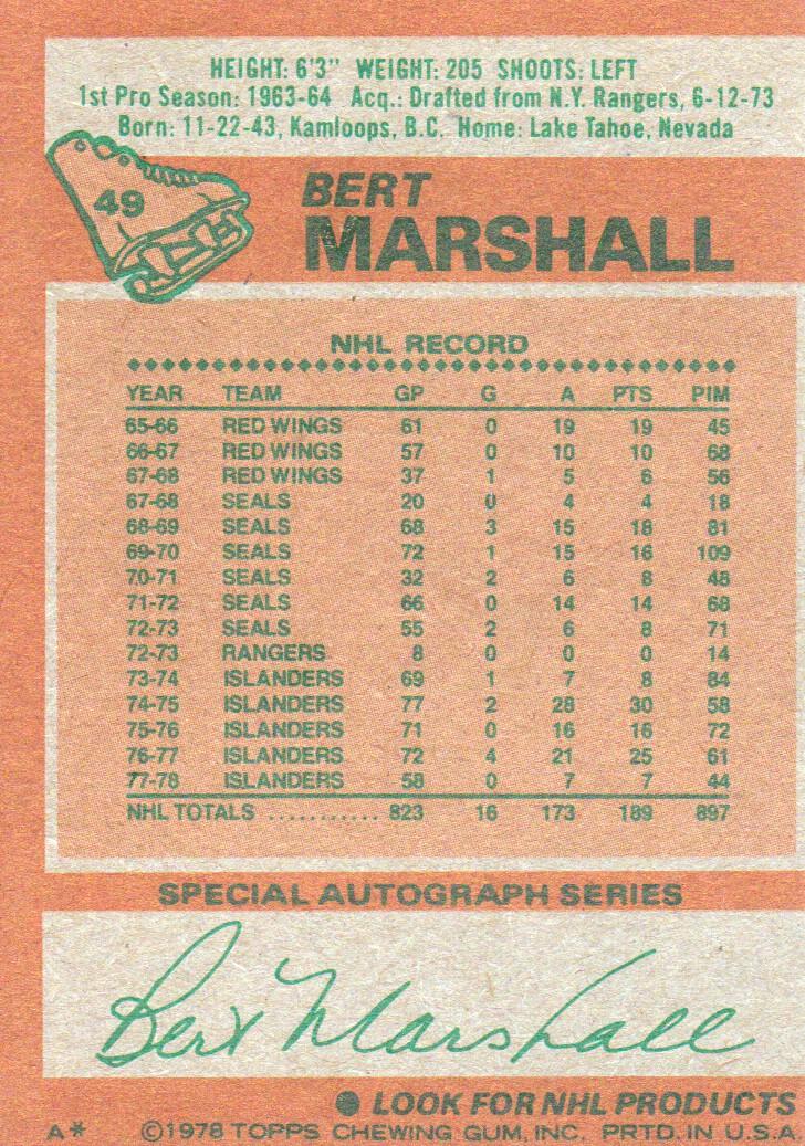 1978-79 Topps #49 Bert Marshall back image