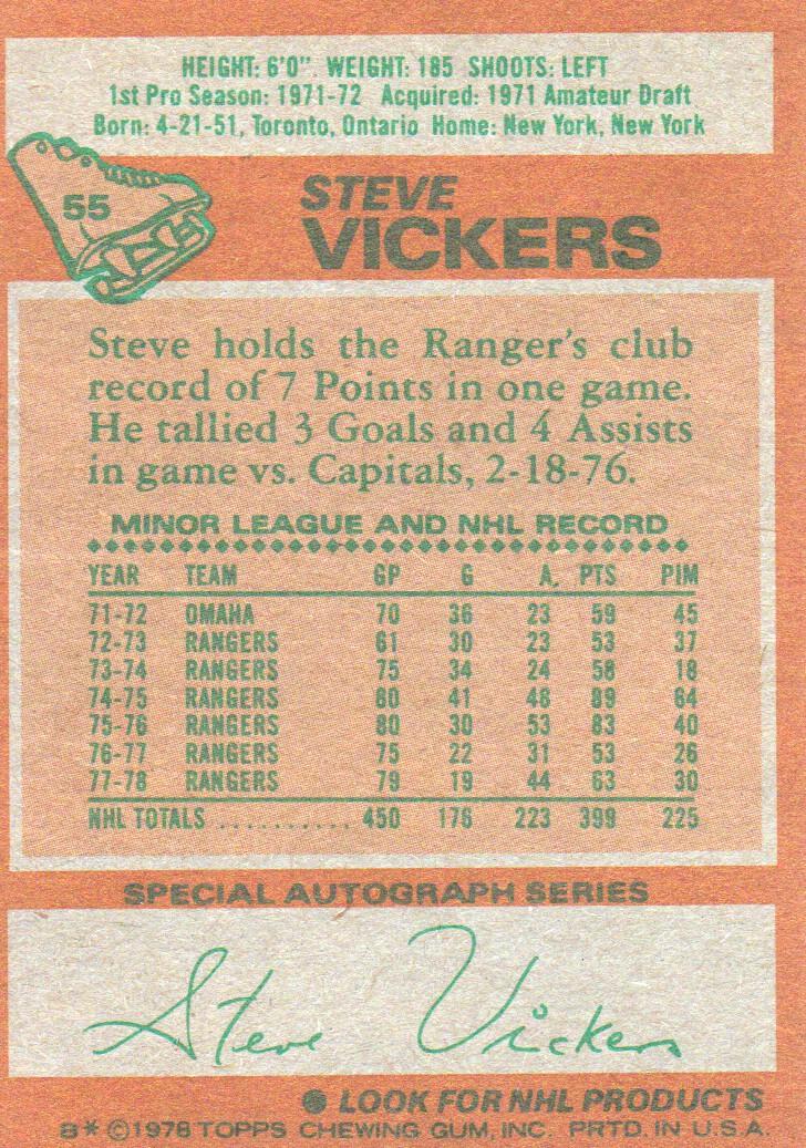 1978-79 Topps #55 Steve Vickers back image