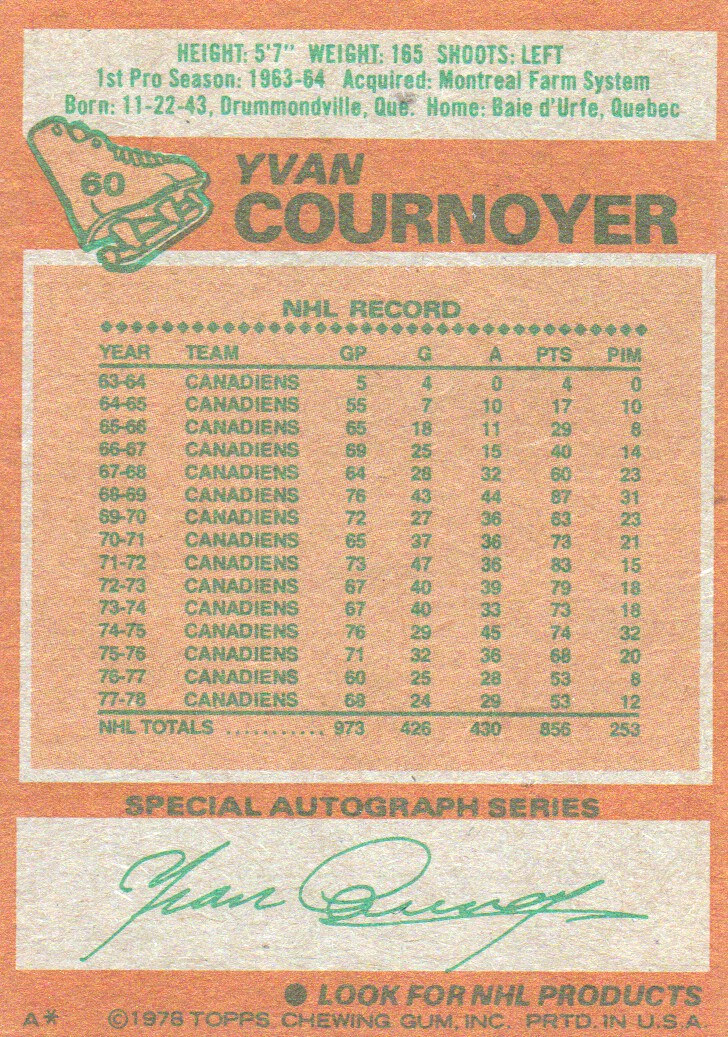 1978-79 Topps #60 Yvan Cournoyer back image