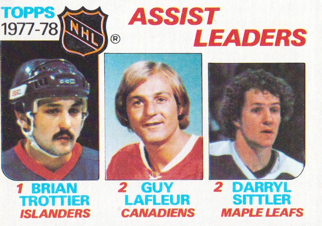 1978-79 Topps #64 Assist Leaders/Bryan Trottier/Guy Lafleur/Darryl Sittler