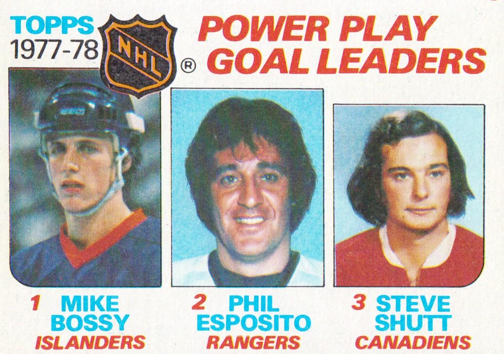 1978-79 Topps #67 Power Play Goal/Leaders/Mike Bossy/Phil Esposito/Steve Shutt
