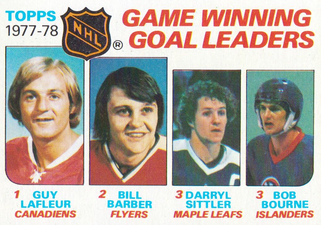 1978-79 Topps #69 Game Winning/Goal Leaders/Guy Lafleur/Bill Barber/Darryl Sittler/Bob Bourne
