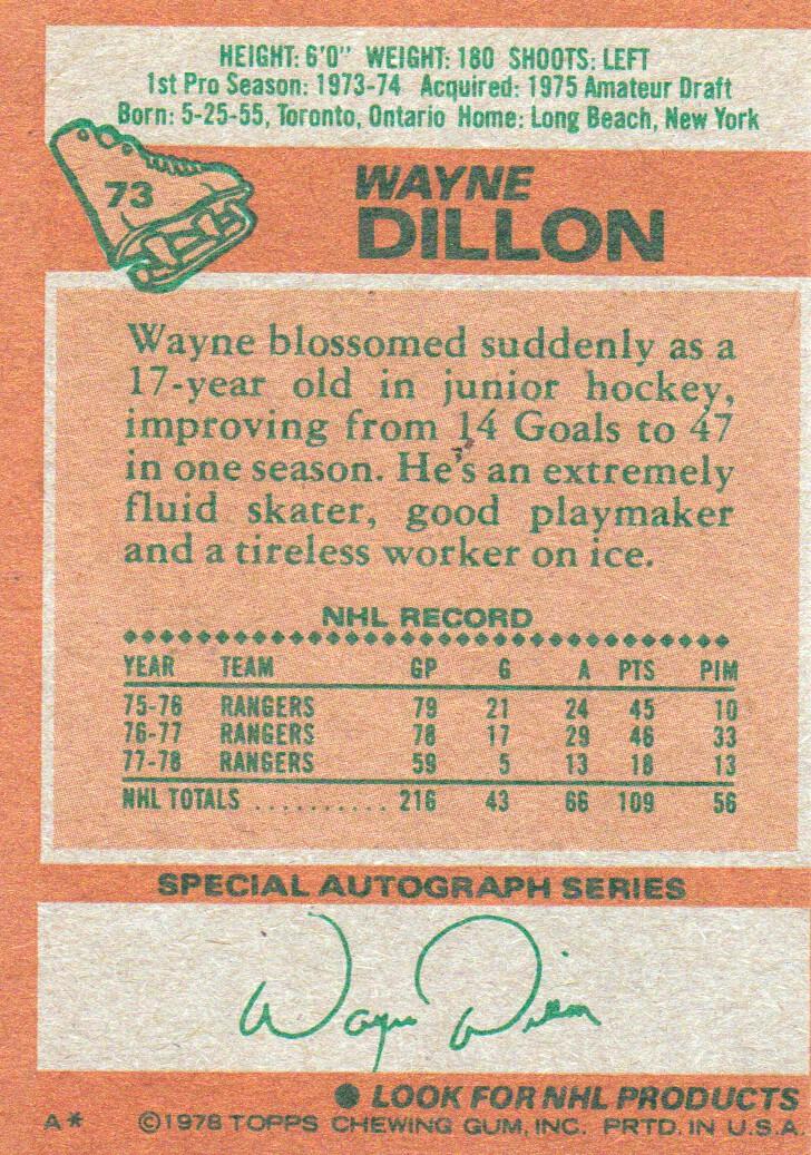 1978-79 Topps #73 Wayne Dillon back image
