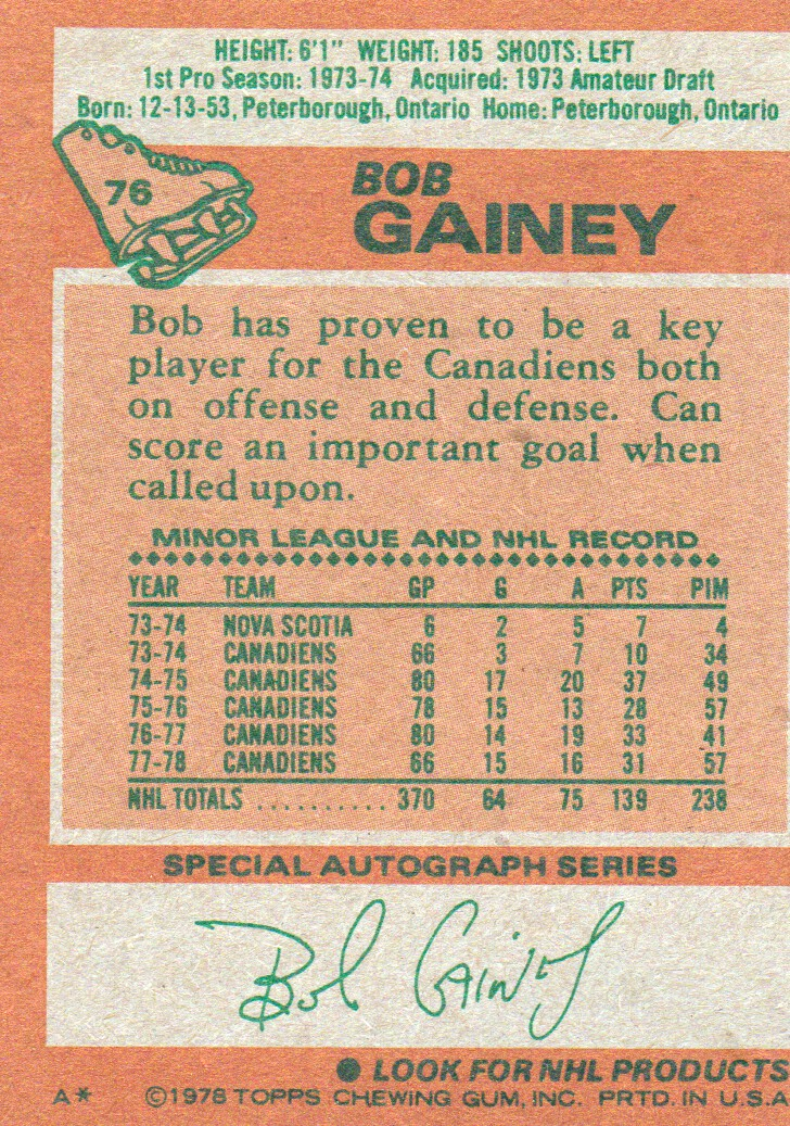 1978-79 Topps #76 Bob Gainey back image
