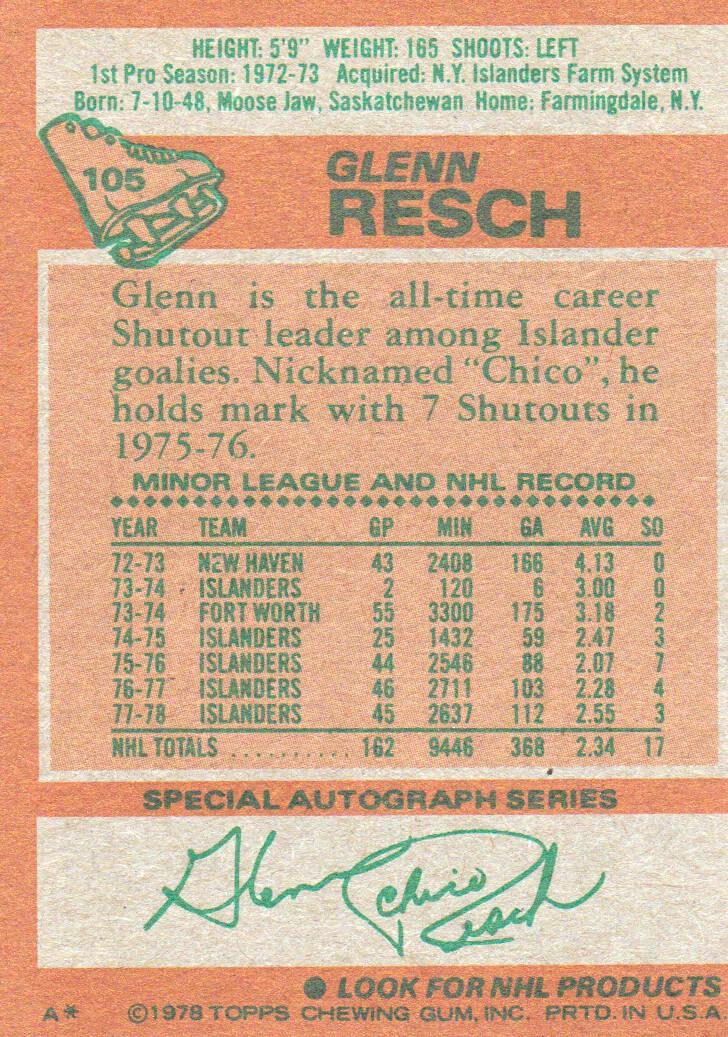 1978-79 Topps #105 Glenn Resch back image