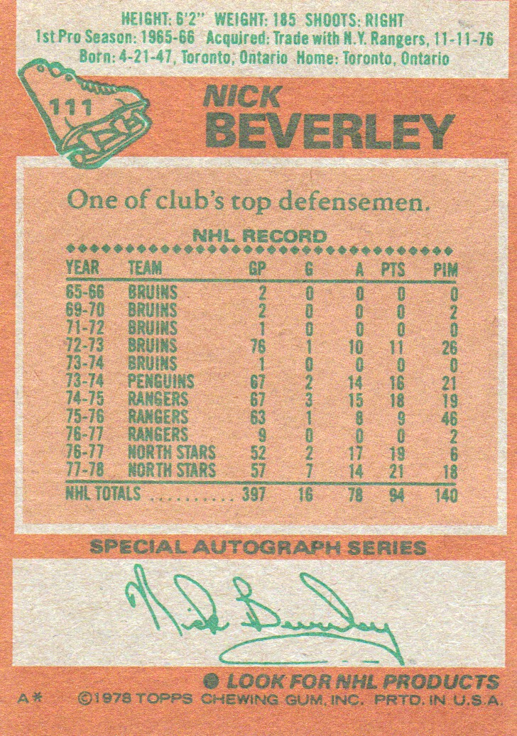 1978-79 Topps #111 Nick Beverley back image