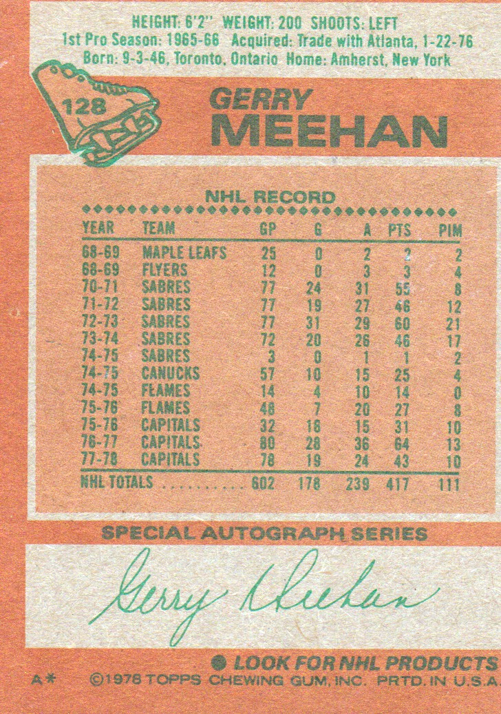1978-79 Topps #128 Gerry Meehan back image