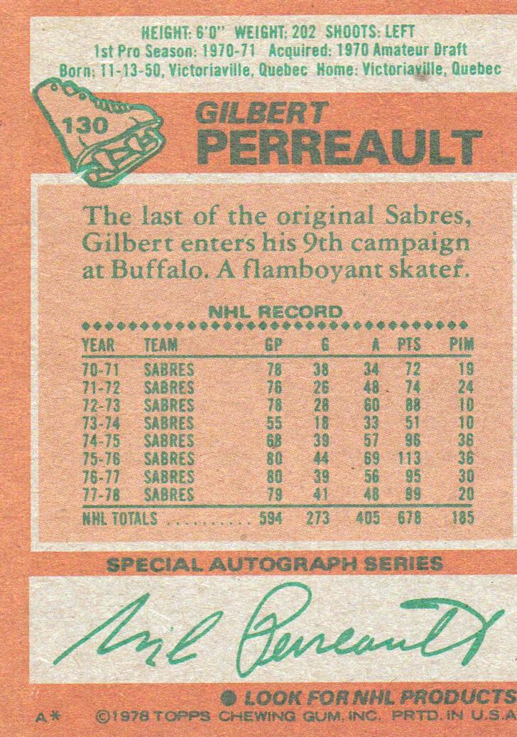 1978-79 Topps #130 Gilbert Perreault back image