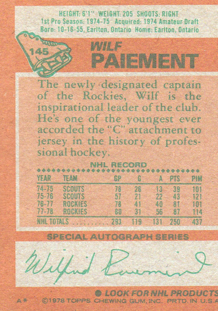 1978-79 Topps #145 Wilf Paiement back image
