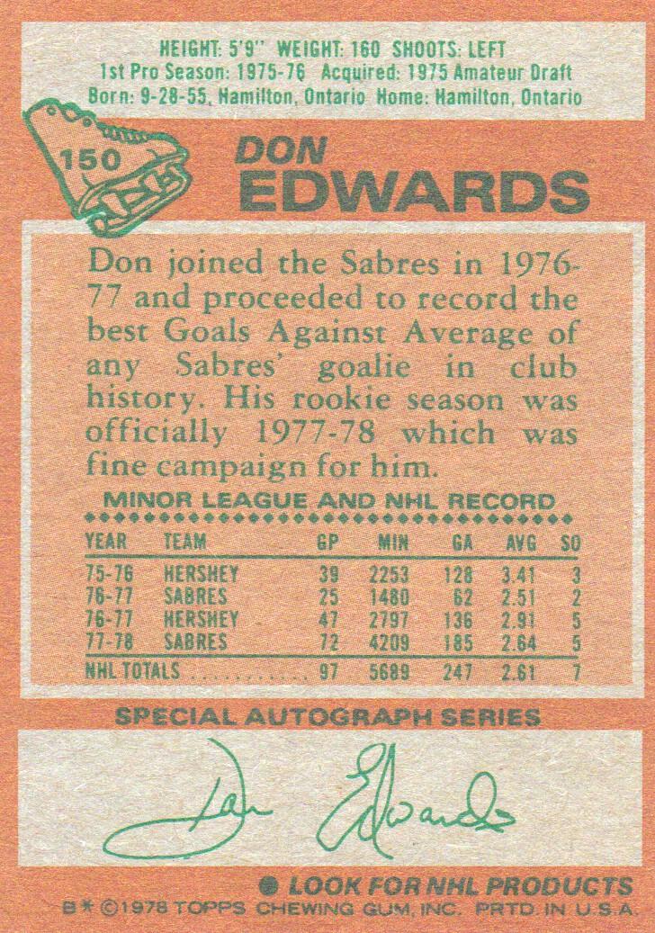 1978-79 Topps #150 Don Edwards AS2 back image