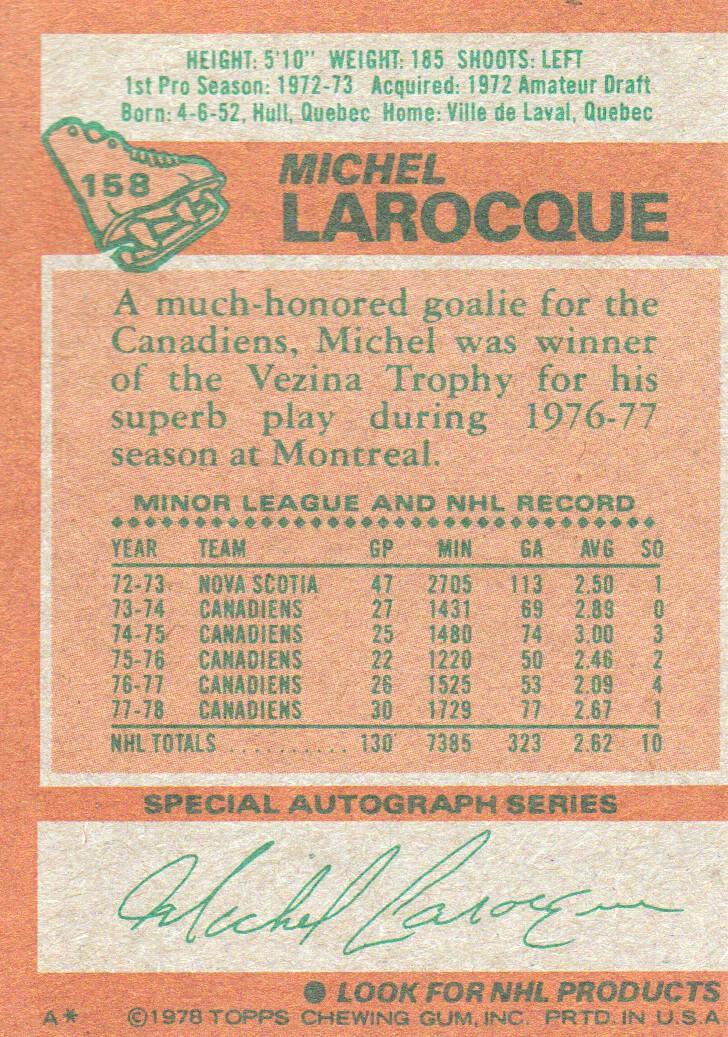 1978-79 Topps #158 Michel Larocque back image