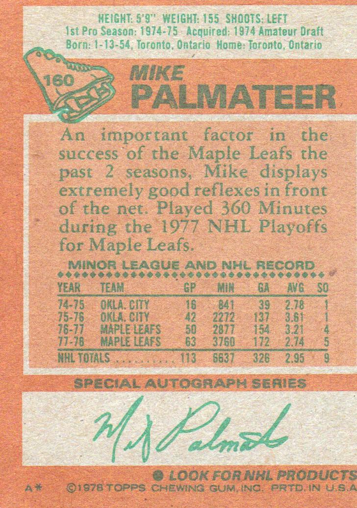 1978-79 Topps #160 Mike Palmateer back image
