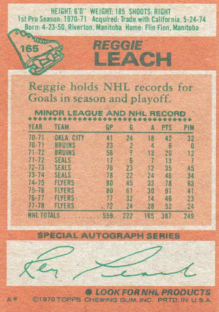 1978-79 Topps #165 Reggie Leach back image