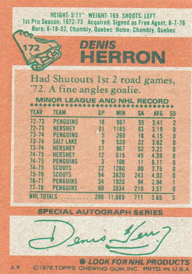 1978-79 Topps #172 Denis Herron back image