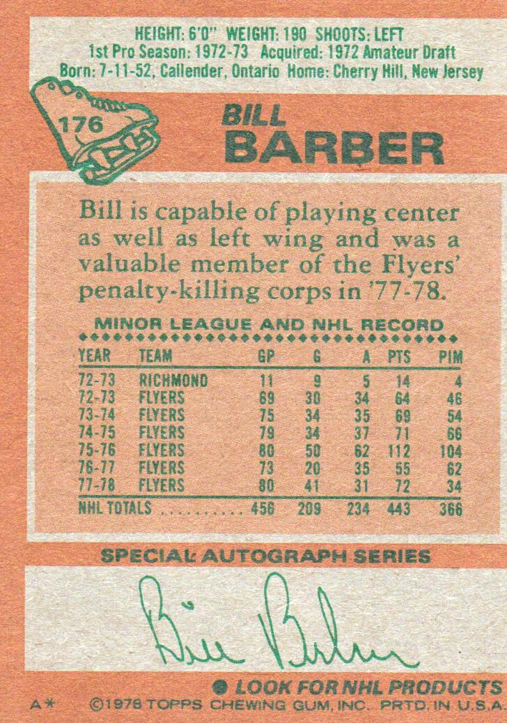 1978-79 Topps #176 Bill Barber back image