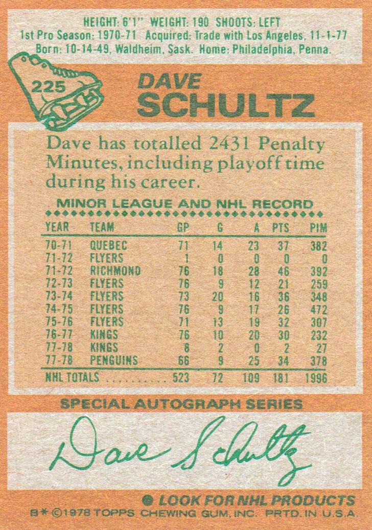 1978-79 Topps #225 Dave Schultz back image