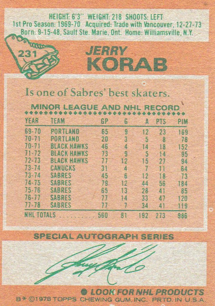1978-79 Topps #231 Jerry Korab back image