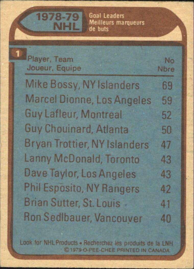 1979-80 O-Pee-Chee #1 Goal Leaders/Mike Bossy/Marcel Dionne/Guy Lafleur back image