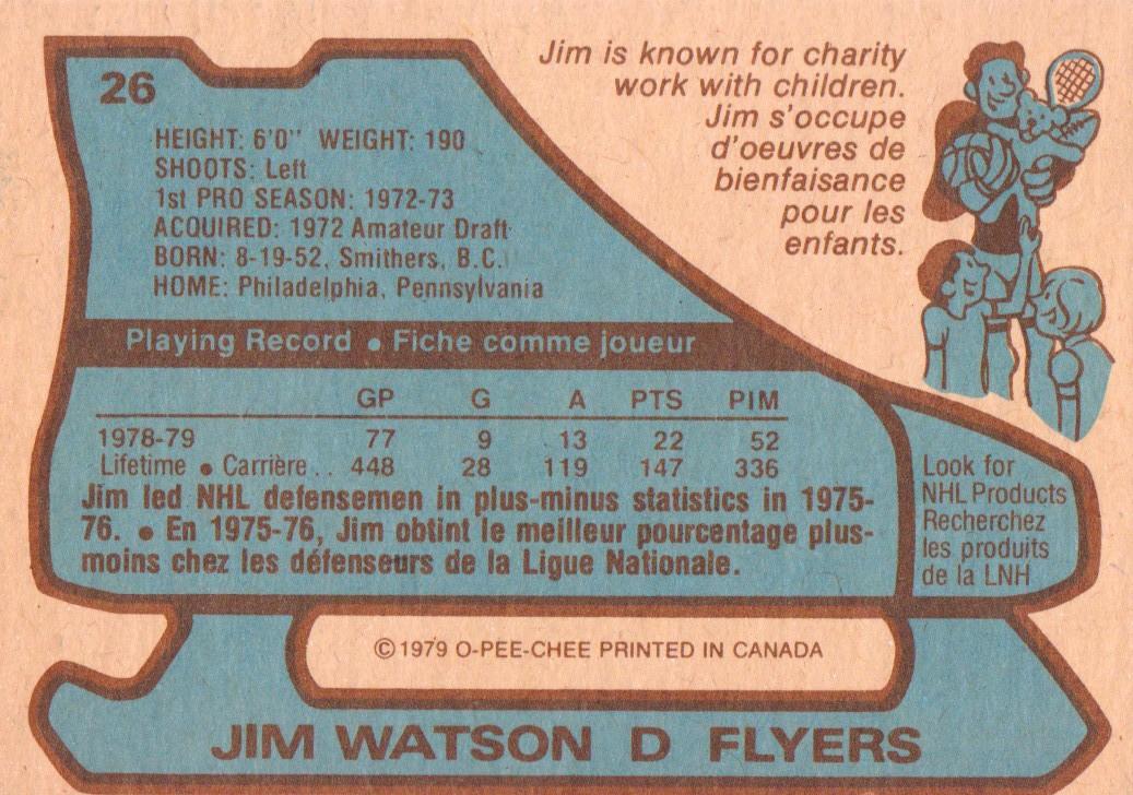 1979-80 O-Pee-Chee #26 Jimmy Watson back image