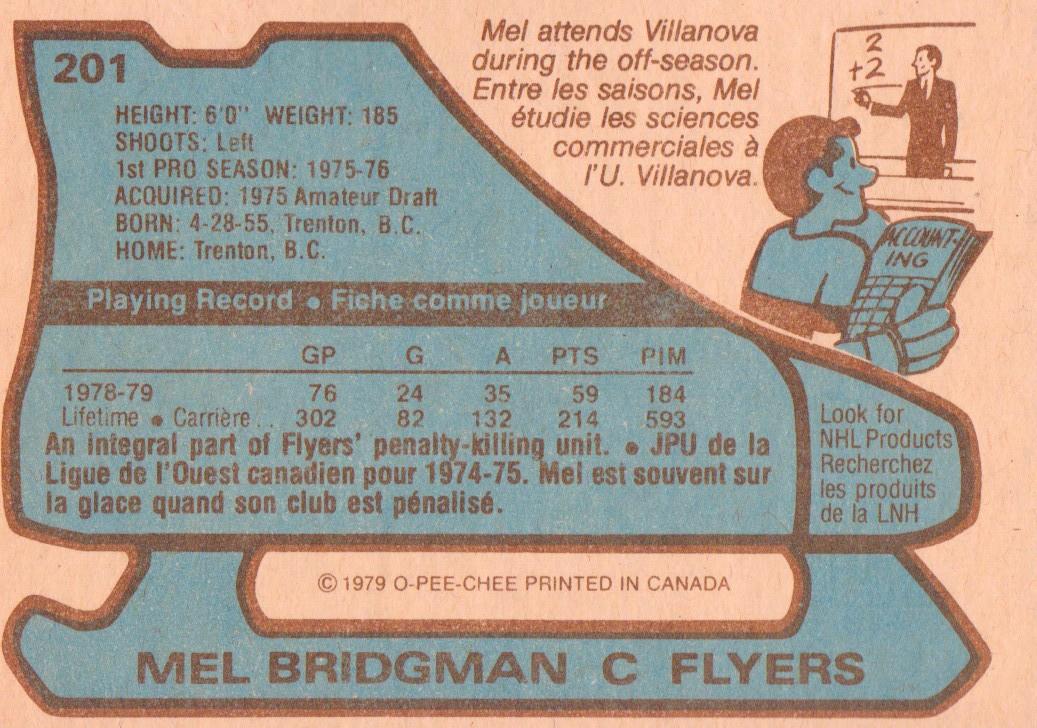 1979-80 O-Pee-Chee #201 Mel Bridgman back image