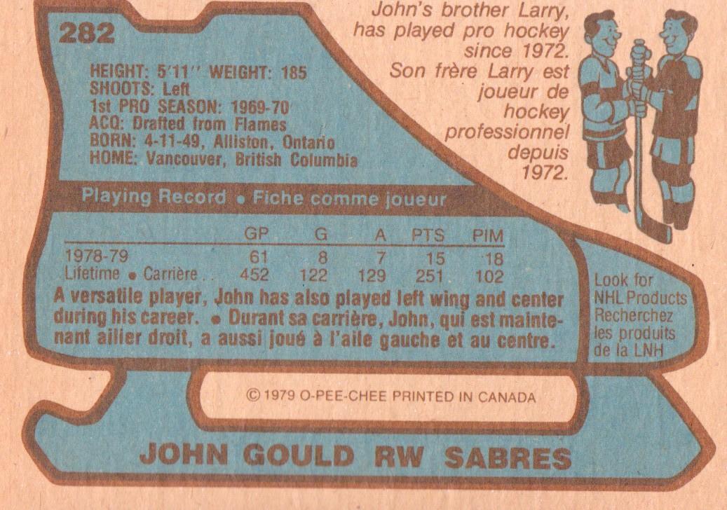 1979-80 O-Pee-Chee #282 John Gould back image