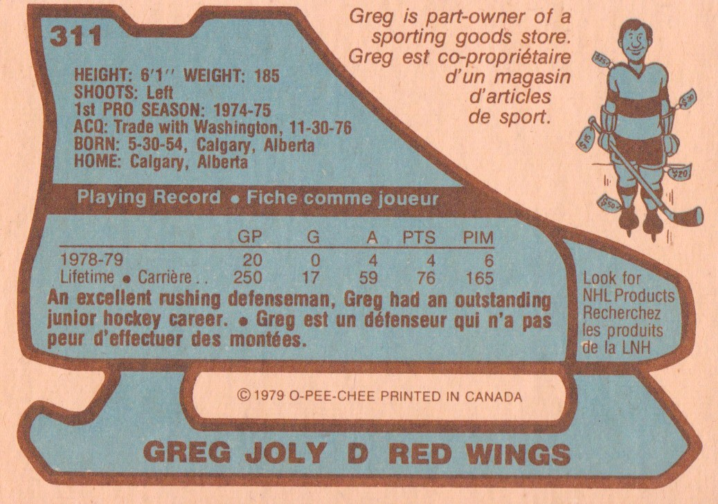 1979-80 O-Pee-Chee #311 Greg Joly back image