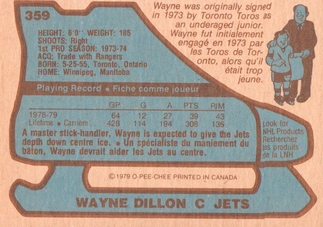 1979-80 O-Pee-Chee #359 Wayne Dillon back image