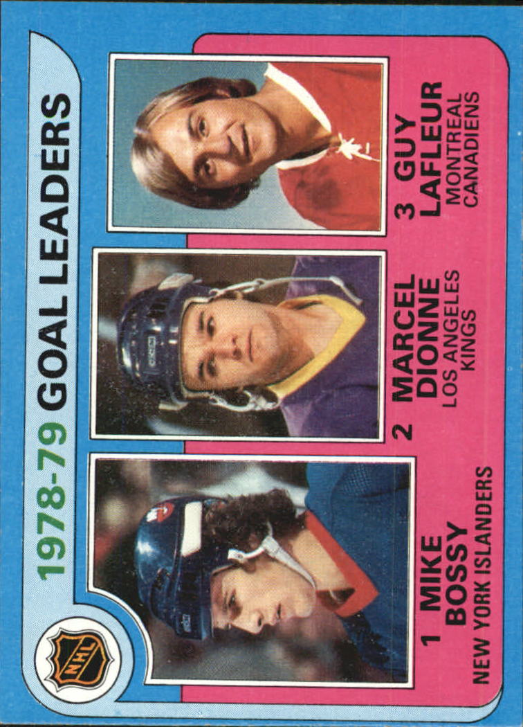 1979-80 Topps #1 Goal Leaders/Mike Bossy/Marcel Dionne/Guy Lafleur