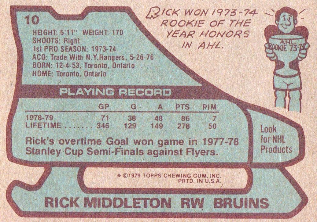 1979-80 Topps #10 Rick Middleton back image