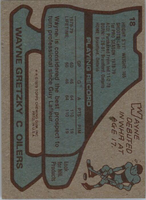 1979-80 Topps #18 Wayne Gretzky RC back image