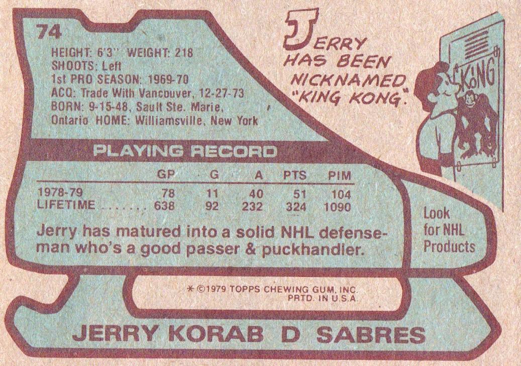 1979-80 Topps #74 Jerry Korab back image