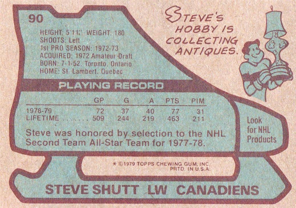 1979-80 Topps #90 Steve Shutt back image