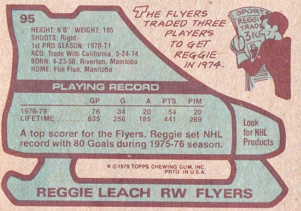 1979-80 Topps #95 Reggie Leach back image