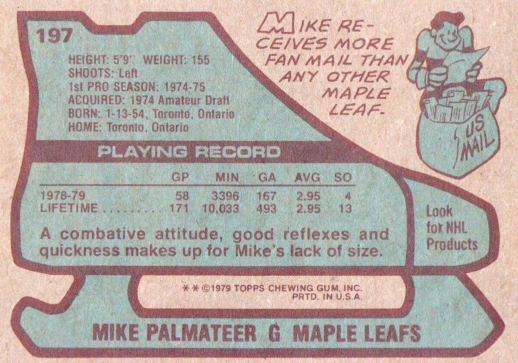 1979-80 Topps #197 Mike Palmateer back image